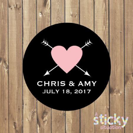 Personalised Wedding Stickers - Simple Black and Pink Heart Design
